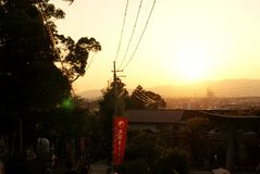 Sunset in Inari, Japan. Sunset between shinto temples in Inari, near Kyoto, Japan Royalty Free Stock Photos