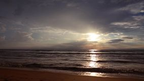 Sunset on the indian ocean. Evening stock video footage