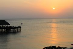 Sunset on Indian ocean, Zanzibar, Tanzania, Africa Royalty Free Stock Photo