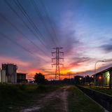 Sunset at industrial area. This photo taken located from shsh alam, selangor, malaysia royalty free stock photos