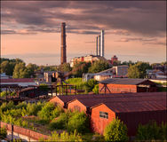 Sunset. Industrial landscape. Russia. Royalty Free Stock Photography
