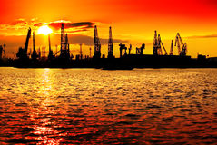 Sunset industry orange Royalty Free Stock Photo