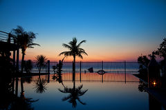 Sunset and infinity pool Royalty Free Stock Photography