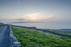 Sunset, inismeain, aran islands, ireland Royalty Free Stock Image
