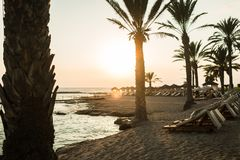 Sunset in the inland sea, Cyprus Stock Photos