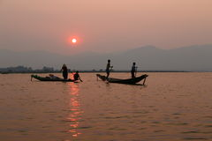 Sunset at Inle Lake Royalty Free Stock Image
