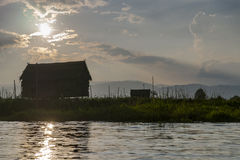 Sunset on Inle Lake Stock Photos