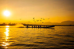 Sunset in Inle lake Stock Image