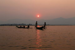 Sunset at Inle Lake, Myanmar Royalty Free Stock Photos