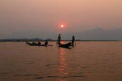 Sunset at Inle Lake, Myanmar Royalty Free Stock Photos