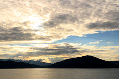Sunset in the Inside Passage, Alaska, United States royalty free stock image