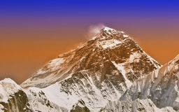 Sunset intense color filtered picture of Everest, Nepal. Stock Images