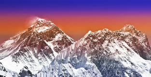 Sunset intense color filtered picture of Everest, Nepal. Royalty Free Stock Photography