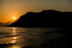Sunset at ionian sea Stock Image
