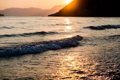 Sunset at ionian sea Stock Photos