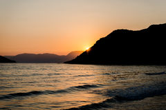 Sunset at ionian sea Stock Photography