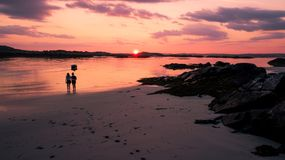 Holiday photo Irish Beach In Clifton Island sunset stock image