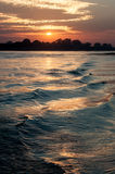 Irrawaddy river, Myanmar. Sunset on the Irrawaddy river in Myanmar Stock Photo