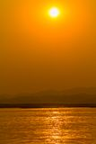 Sunset on Irrawaddy river Royalty Free Stock Image