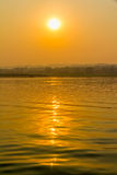 Sunset on Irrawaddy river Royalty Free Stock Photography