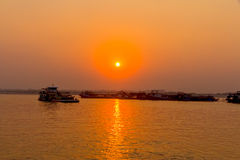 Sunset on Irrawaddy river Stock Photo