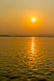 Sunset on Irrawaddy river Stock Photos