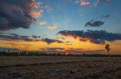 Sunset in Isan Village, north east Thailand. royalty free stock photos