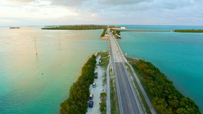 Sunset in Islamorada, Florida. Bridge over the sea