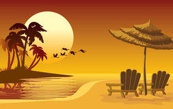 Sunset island. Summer landscape: sunset, beach, chairs and umbrella Royalty Free Stock Images