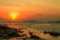 Sunset. At the island is beautiful Royalty Free Stock Photos