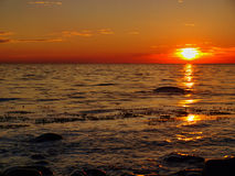 Sunset on the island of Bornholm. Hassle Baltic coast around sunset Royalty Free Stock Photos