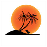 Sunset island with coconut palm tree and beach chair Stock Image