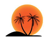 Sunset island with coconut palm tree Royalty Free Stock Image