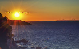 Sunset on the island of Elba. A wonderful moment, somewhere in the middle of the Mediterranean Royalty Free Stock Image