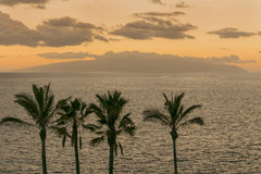 Sunset on the island of Gomera from Tenerife, Canary islands, Sp Stock Photography