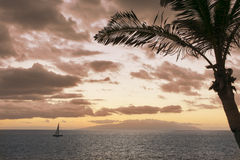 Sunset on the island of Gomera from Tenerife, Canary islands, Sp Royalty Free Stock Images