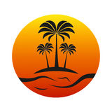Sunset island with palm trees stock illustration
