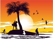 Sunset on the island paradise Stock Image