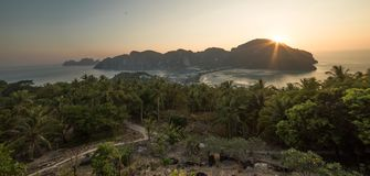 Sunset on the island of Phi Phi, Thailand royalty free stock image