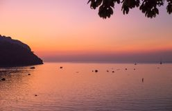 Sunset on the island of Phi Phi, Thailand Royalty Free Stock Photo