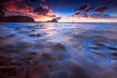 Sunset on the Island of Saint Lucia. Beautiful sunset over Pigeon Island, Northern Saint Lucia Stock Photography