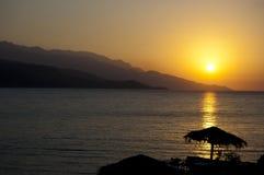 Sunset from the island of Samos. Beautiful golden sunset from the island of Samos - Greece royalty free stock image