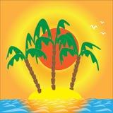 Sunset, island, three palm trees, illustration. Sunset, island, sea, and three palm trees, evening landscape, illustrations Royalty Free Stock Photo