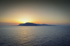 Sunset on the island. A wonderful moment, somewhere in the middle of the Mediterranean Stock Image