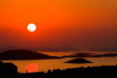 Sunset with islands Royalty Free Stock Photos
