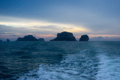 Sunset on islands in Andaman sea Royalty Free Stock Images