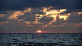 Sunset. Israeli coast near the border with Lebanon Stock Image