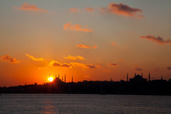 Sunset at istanbul 2. Blue Mosque and Hagia Sofia Mosque at Istanbul Stock Photos