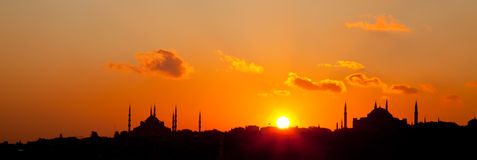 Sunset at istanbul. Blue Mosque and Hagia Sofia Mosque at Istanbul Stock Images