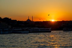 Sunset in Istanbul evening Royalty Free Stock Photo